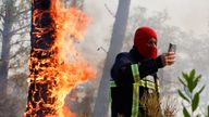Almost 900 firefighters tackled the blaze, supporting by water dumping planes and helicopeters