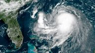 This OES-16 East GeoColor satellite image taken Friday, Aug. 20, 2021, at 11:40 a.m. EDT., and provided by NOAA, shows Tropical Storm Henri in the Atlantic Ocean. Pic: AP