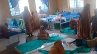 Some freed students of Salihu Tanko Islamic School receiving treatment at a healthcare centre in Bosso, Nigeria. Pic: AP