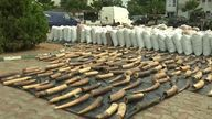 The haul included 196 bags containing 17,134 kg of pangolin scales, 870 kg of elephant tusks and 4.6 kg ofpangolin claws,the head of customs said.