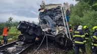 Emergency services at the scene following the fatal rail collision. Pic: Plzen Fire and Rescue