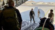 Stuart Ramsay at the ramp of the C-17 as it prepares to leave Afghanistan