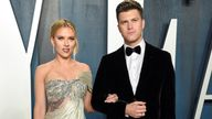 Scarlett Johansson and Colin Jost at the Oscars Vanity Fair party in February 2020. Pic: Evan Agostini/Invision/AP