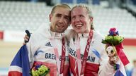 Handout photo dated 28/08/2021 provided by ParalympicsGB/imagecomms of ParalympicsGB Cyclists, Lora Fachie aged 32, from Liverpool, celebrating gold medal in the Tandem B - 3km Pursuit - Women event, with husband Neil Fachie aged 37, from Aberdeen, wins gold in the Tandem B - 1000m Time Trial - Men at the Izu Velodrome during day four of the Tokyo 2020 Paralympic Games in Japan. Picture date: Saturday August 28, 2021.