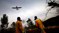 Around 45 firefighting teams accompanied by eight planes were working to contain five fires