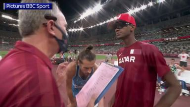 Historic scenes as high jumpers agree to share gold