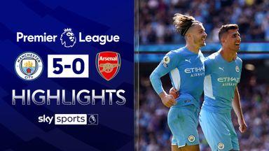 Man City hit five past 10-man Arsenal