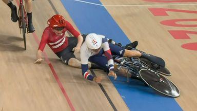 GB and Denmark crash in men's team pursuit