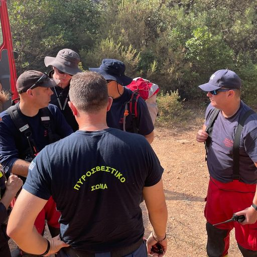 UK team help 'strained and exhausted' Greek colleagues battle forest flames