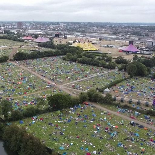 Tents and rubbish left after Reading festival