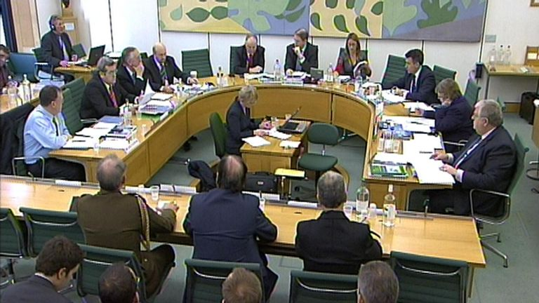 Minister for Defence, Equipment and Support, Quentin Davies gives evidence to the Defence Select Committee, London.
