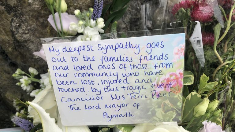 A tribute from the Lord Mayor of Plymouth Terri Beer left outside the Lidl supermarket on Wolesley Road, near Biddick Drive in the Keyham area of Plymouth where six people, including the offender, died of gunshot wounds in a firearms incident Thursday evening. Picture date: Friday August 13, 2021.