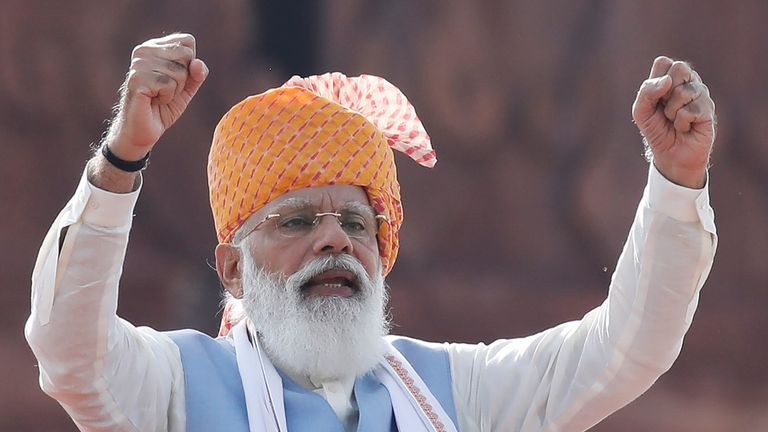 Indian Prime Minister Narendra Modi addresses the nation during Independence Day celebrations at the historic Red Fort in Delhi, India, August 15, 2021. REUTERS/Adnan Abidi