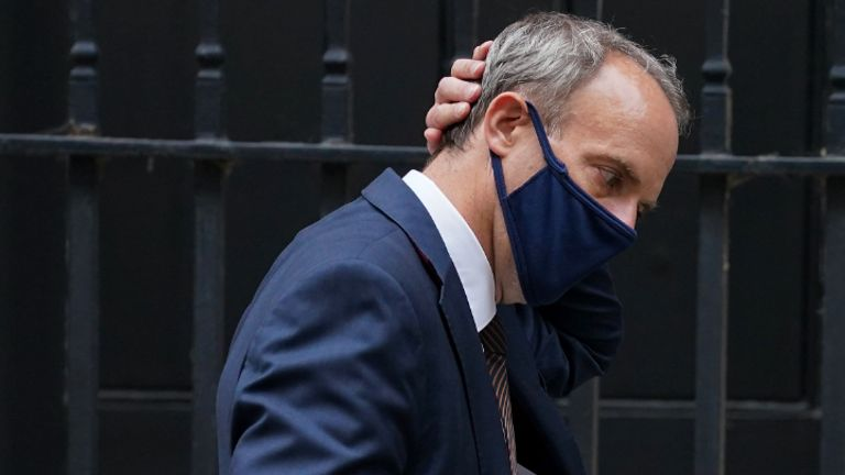 Foreign Secretary Dominic Raab leaving 10 Downing Street, London, after attending a Cobra meeting. Prime Minister Boris Johnson has held a third Cobra meeting in four days this afternoon as a desperate struggle to get UK nationals and local allies out of the country continues. Picture date: Monday August 16, 2021.