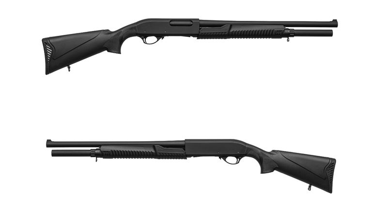 Modern pump-action shotgun with a plastic butt and fore-end isolate on a white background. Weapons for sports and self-defense. Armament of police, army and special units.