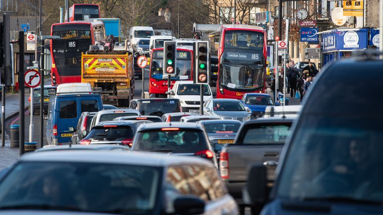 General view traffic of the A205 South Circular road in Lewisham, south London. Air pollution has been recorded as a medical cause of death of nine-year-old Ella Kissi-Debrah who suffered a fatal asthma attack. Kissi-Debrah is believed to be the first person in the UK to have air pollution listed as the cause of death on their death certificate, following the ruling by a coroner at a second inquest into her death.