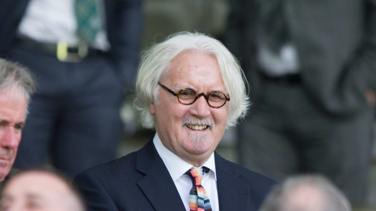 Billy Connolly in the stands during the Betfred Cup second round match at Celtic Park, Celtic.