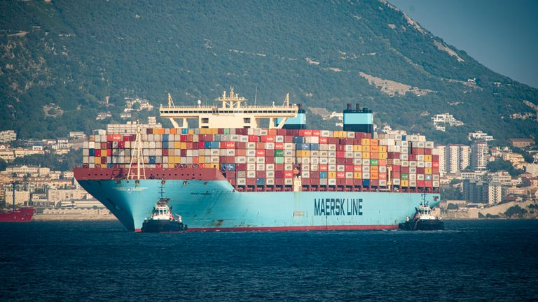 Mary Maersk the megaship Triple E of 18270 teus that arrives to the port of Algeciras coming from the Suez Canal, is the first one that arrives to Spain after the accident. Algeciras (Cadiz) on 03 April 2021 03 APRIL 2021 Marcos Morenos/ Europa Press 04/03/2021 (Europa Press via AP)