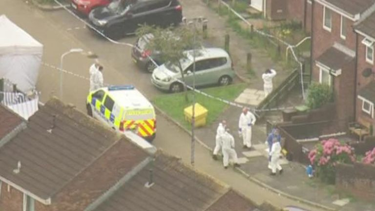 Forensic officers investigate the scene of Jake Davison's shooting spree, which left five others dead and two injured before the shooter turned the gun on himself