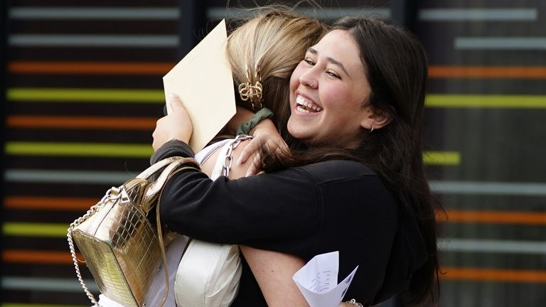 Students at Archbishop Blanch School in Liverpool, receive their A-Level results. Picture date: Tuesday August 10, 2021.