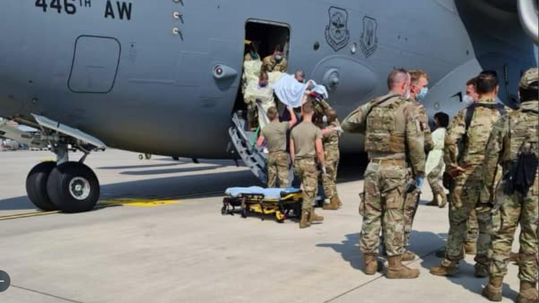 An Afghan other gave birth on board a military aircraft. Pic: Air Mobility Command/ @AirMobilityCmd
