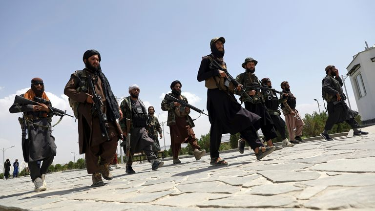 Taliban fighters patrol the streets of Kabul. Pic: AP