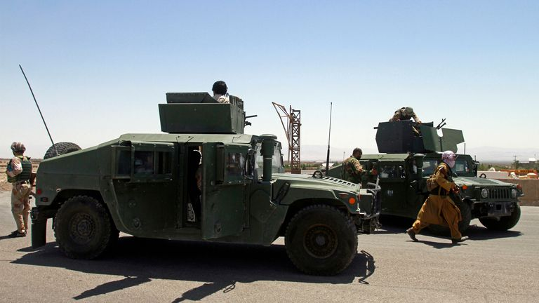 Afghan security personnel patrol Herat following fighting with the Taliban on the outskirts of the city. Pic: AP