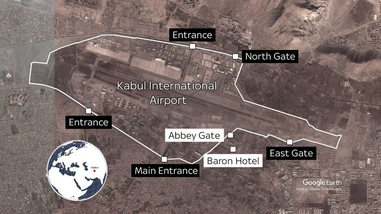 Updated map: Map shows where the attacks outside Kabul International Airport took place
