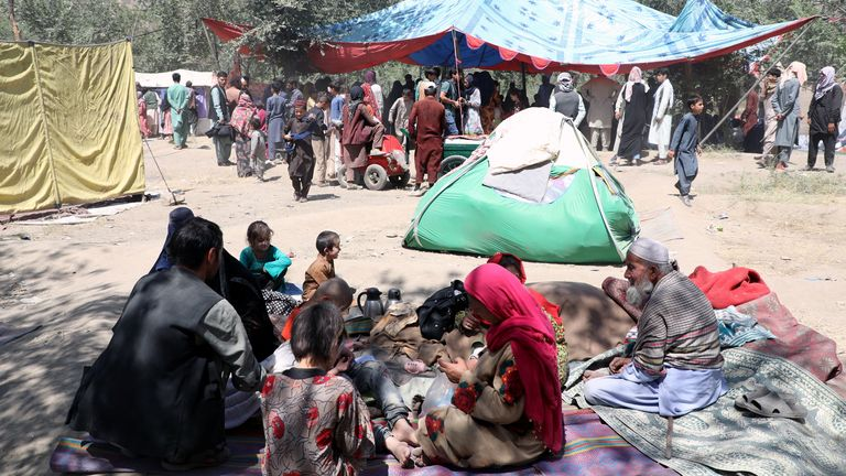 Displaced families from northern provinces who fled their homes amid the violence take shelter in a public park in Kabul, Afghanistan