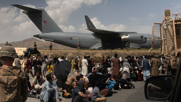 Members of the UK Armed Forces taking part in the evacuation of entitled personnel from Kabul airport