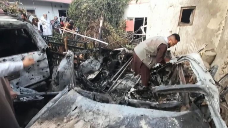 """Video shows a building and several vehicles were damaged after a US strike in Kabul, Afghanistan. The US military said a drone destroyed a vehicle which was carrying """"a substantial amount of explosive material""""."""