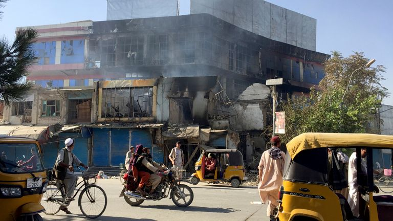 Shops are damaged shops after fighting between Taliban and Afghan security forces in Kunduz