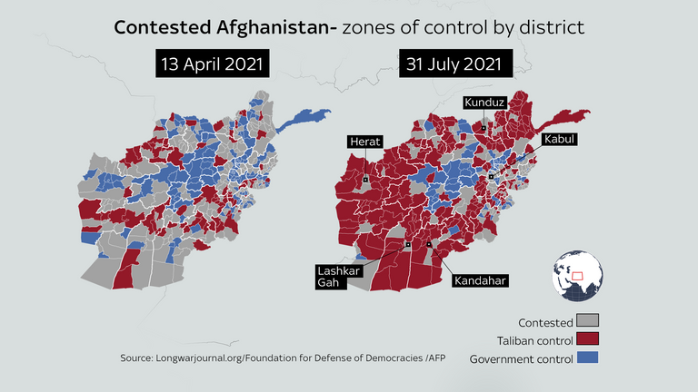 Map shows Taliban's advance in Afghanistan