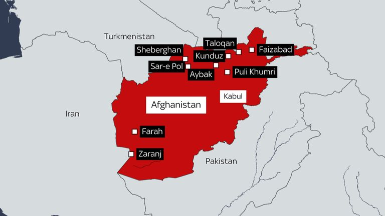 The capitals of nine Afghan provinces have now fallen to the Taliban