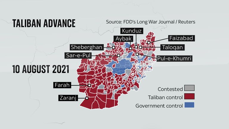 As of 10 August, the government had lost control of the majority of regions, as the Taliban looks to advance on Kabul, the capital