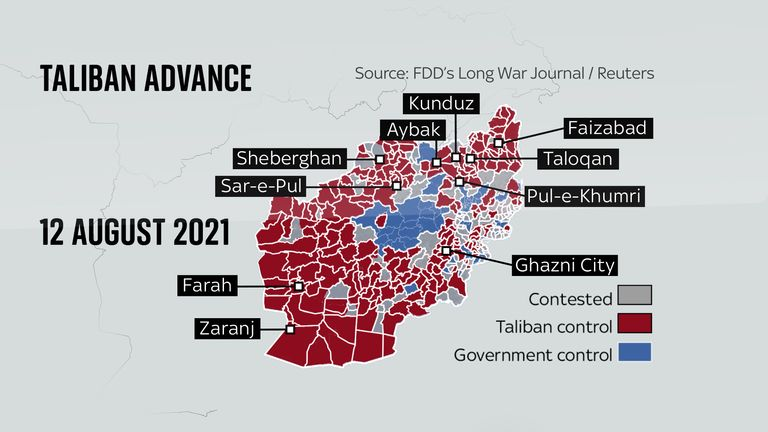 The Taliban's advance has meant the group has taken control of Ghazni, in the east