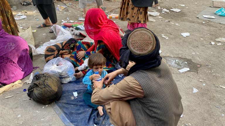 Families have been forced to abandon their homes as the Taliban takes over large parts of the country