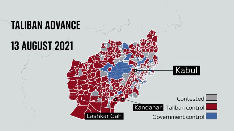 State of Taliban advance 13 August 2021