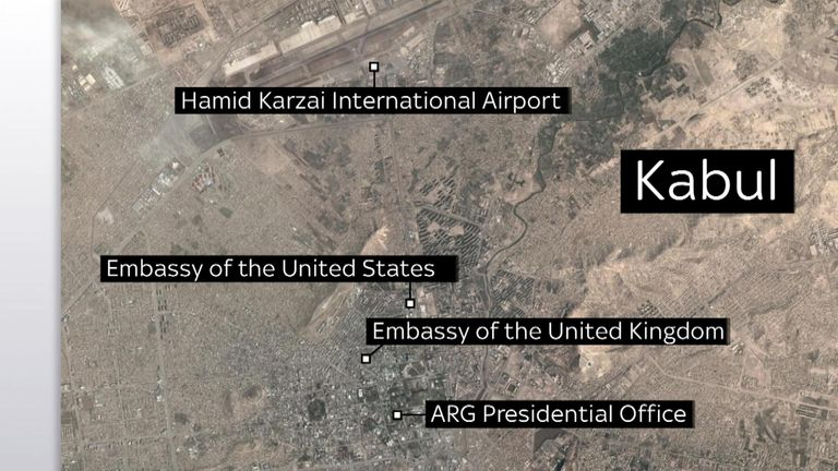 A map shows where the UK and US embassies are located in Kabul