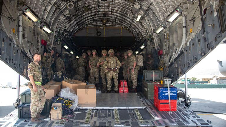 Troops from the 16 Air Assault Brigade land in Kabul on Sunday. Pic: MoD