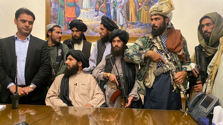 Taliban fighters took control of the Afghan presidential palace on Sunday after President Ashraf Ghani fled the country. Pic AP