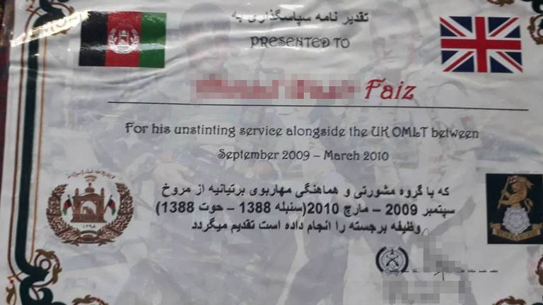 Faiz has certificates from the British Forces showing their appreciation for his work