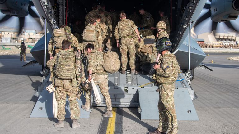 Image shows UK military personnel onboard a A400M aircraft departing Kabul, Afghanistan on the 28 August 2021.   As part of Operation PITTING; eligible Afghans are also being evacuated to the UK via the UAE under the Afghan Relocation and Assistance Program (ARAP). Some will land and be processed at RAF Brize Norton (BZZ). This represents a valuable opportunity to showcase the ability of the RAF, and in particular the Air Mobility Force, to deliver large scale Air Transport operations at short n