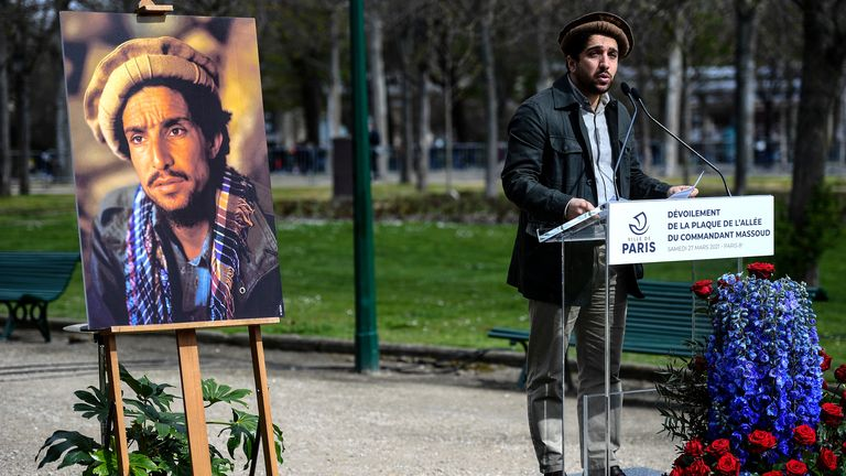 Ahmad Massoud, pictured here at a rally in Paris in March, is the son of late Afghan commander Ahmad Shah Massoud. Pic: AP