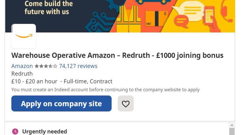 Amazon is offering bonuses to new recruits