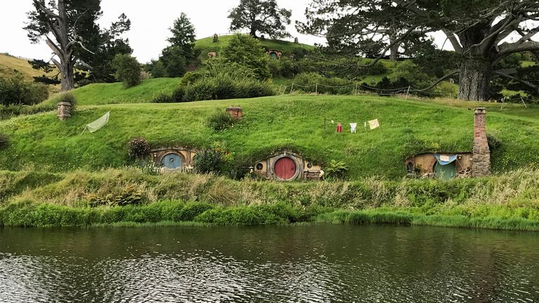The Hobbiton movie set, a location for The Lord of the Rings and The Hobbit film trilogy, in Matamata, New Zealand
