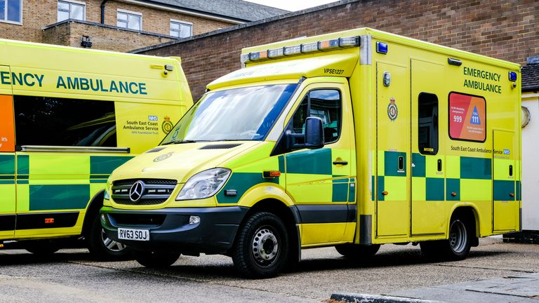 Parked Ambulances In South London, UK, Emergency Medical Response Vehicles. Pic. iStock