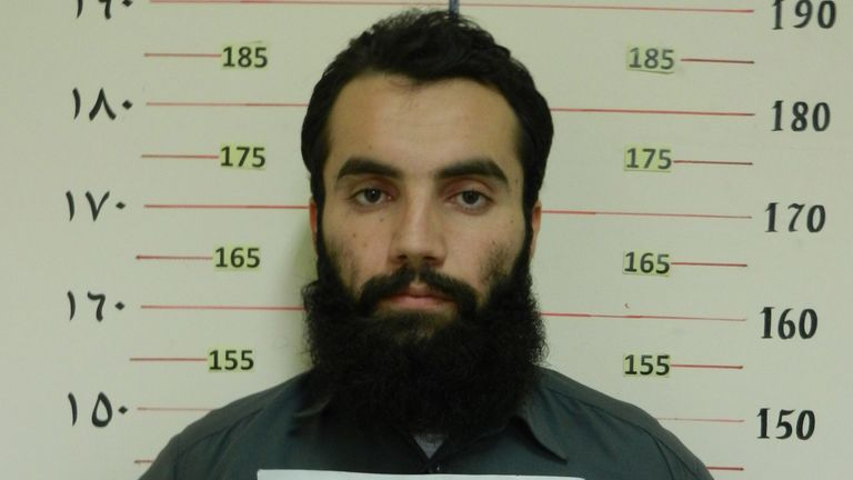 Anas Haqqani, accused of being a senior leader of the Haqqani network, after his arrest by the Afghan Intelligence Service in 2014