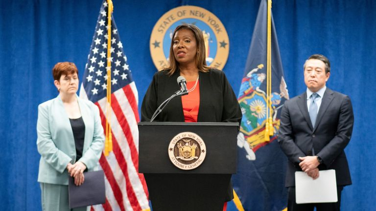 New York State Attorney General, Letitia James, speaks next to independent investigators Joon H. Kim and Anne L. Clark during a news conference regarding a probe that found New York Governor Andrew Cuomo sexually harassed multiple women