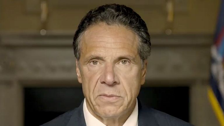 New York Governor Andrew Cuomo makes a statement on a pre-recorded video. Pic: AP